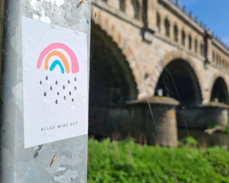 Alles wird gut Regenbogen-Sticker Hohe Mark RadRoute Olfen