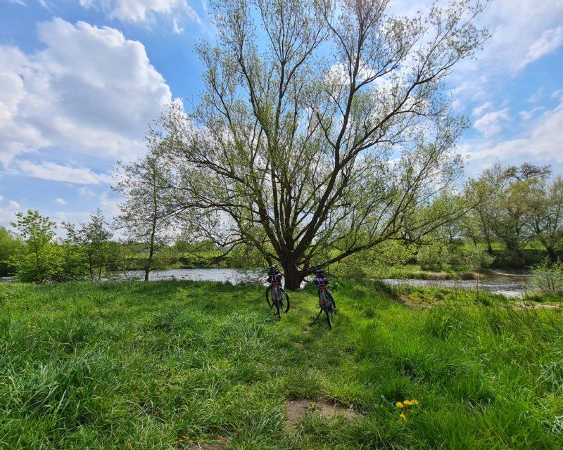 parkende Fahrraeder am Lippe Ufer in Olfen